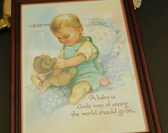 Vintage Color Print for Nursery, Prayer for Boys, Christian Wall Hanging, Baby Shower Gift, New Mother, Print Framed Under Glass, Baby Room