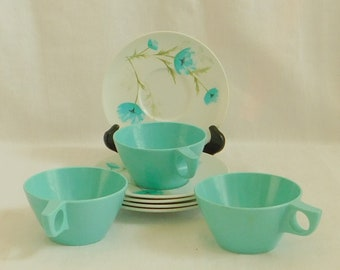8 Vintage Turquoise Melamine Dish, Cup, Floral Saucer, Melmac, Plastic Picnic Dish Set, Odds Ends, Camping Dinnerware, Mid Century, Variety
