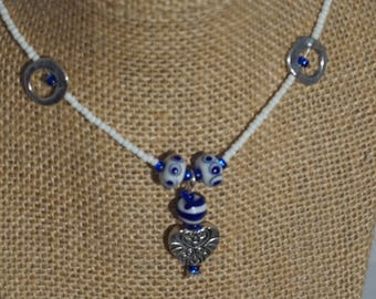 Blue and White with heart pendant