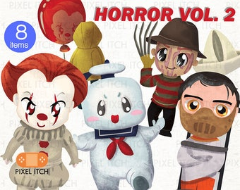 Horror Clipart - Halloween Clipart- Horror illustration- Scary Movies Clipart, Cute Horror Clipart, Geek Clipart - It Movie, Ghostbuster