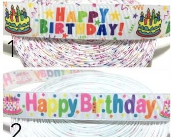 "1"" Happy Birthday Ribbon, Birthday Grosgrain Ribbon, 1 inch Ribbon, Printed Ribbon"