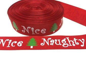 Naughty or Nice Ribbon, Naughty Nice Ribbon, Naughty Nice Grosgrain Ribbon