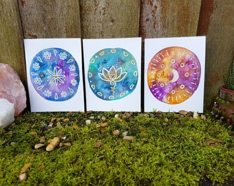 Bohemian paintings - Lotus Moon Mandala - Tiny art - Set of paintings - gypsy style - boho interior - shelfie