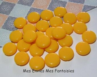 20 flat pellets acrylic 14 x 5mm yellow beads
