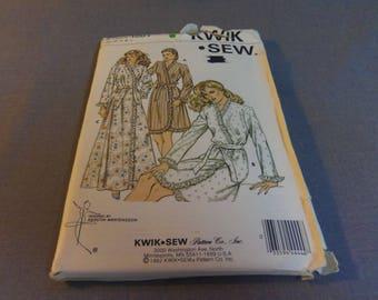 Womens Wrap Robe Sizes XS, S, M, L, Uncut, Kwik Sew 1201, 1982