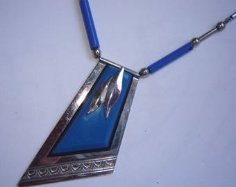 Orig Galalith Collier - chrome by Jakob kid - Idar Oberstein - Germany - best condition - all original -.
