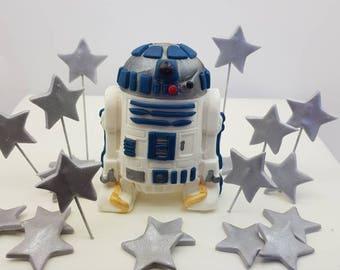 Large R2D2 Star Wars Fondant Cake Topper