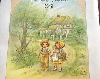1981 Gretchen Friendship calendar, collectible calendar 1980s