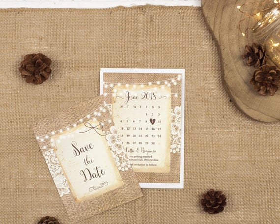 Rustic Lace Save The Date Card Sample