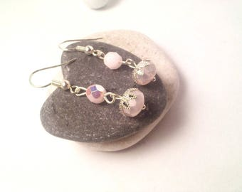 Pink and clear bead earrings