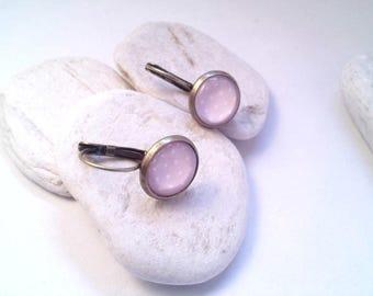 Pink polka dots sleeper earrings