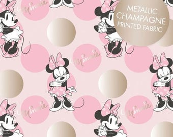 Sale Pink Metallic Minnie Mouse Jumbo Dot from the Minnie Mouse Metallic Collection by Camelot Fabrics