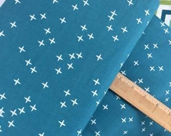 Sale Wink in Teal from Birch Organic Fabrics, Mod Basics 3 Poplin Collection