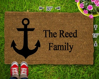 Anchor Customized Coir Doormat - 18x30 - Welcome Mat - House Warming - Mud Room - Gift - Custom - Home Decor - Camping - Campsite
