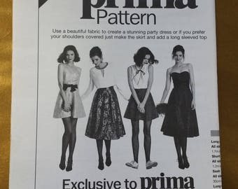 Women's Skirt and Party dress Sewing Pattern, From Prima December 2015, sizes 10-20