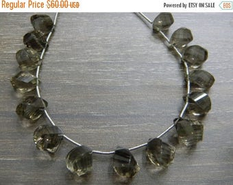 on sale fine quality smoky faceted twisted drops briolite 8 inch strand 15pecs