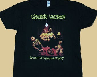 Marilyn Manson, Portrait Of An American Family T-shirt 100% Cotton