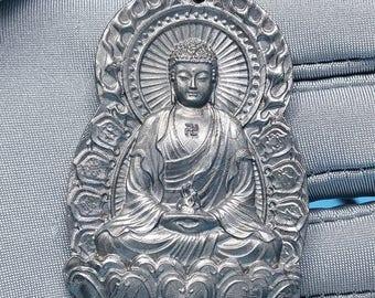 meteorite seymchan Natural genuine Nickel-iron amulet Pendant Mahāvairocana character 45.1gm F898