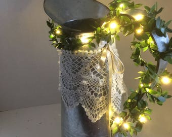Outdoor Table Centerpiece Tin Pitcher With Led String Lights