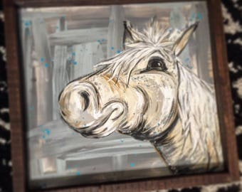 Abstract framed Happy horse painting on wood