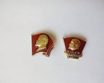 Set of 2 Soviet badges Komsomol pin padge Lenin Patriotic badge pin Communist pin Propaganda pin badge of the USSR pin Gift for collectors