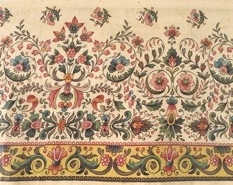 Beautiful 19th C. English or French Printed Cotton Chintz Border (2238)
