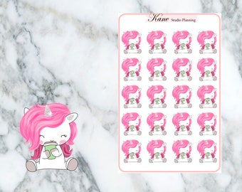 Coffee Unicorn Planner Stickers