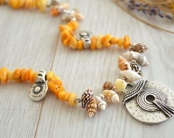 Summer yellow coral and tiger shell necklace, Summer Bohemian Amulet Statement Coral and Shell Jewelry, Bohemian Ethnic Coral Shell Choker