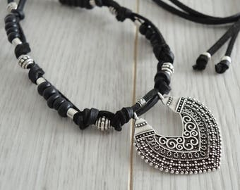 Black Leather/Suede Filigree Chandelier pendant Necklace,Turkish Inspired Necklace Jewellery, Leather Choker Necklace, Ceramic Jewelry