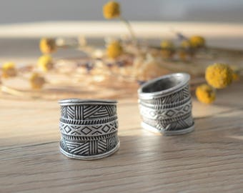 African Tuareg Shield ring, Silver engraved wrap geometric ring, Bohemian Ethnic Tribal Rings, Free people rings, Silver Tuareg Jewellery