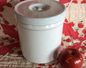 Vintage Retro white enamel hoosiers kitchen canister container storage jar