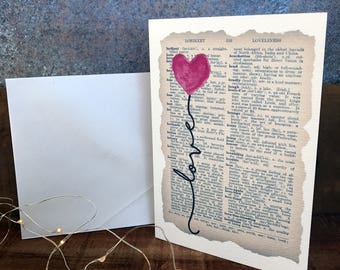 watercolour heart balloon on vintage dictionary page anniversary card, love, greeting card