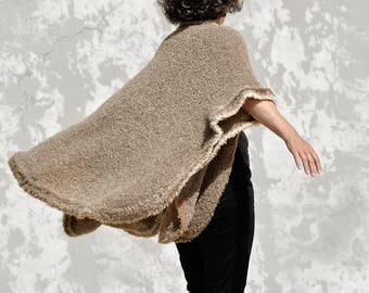 Brown poncho Boucle yarn, hand knitted shipping