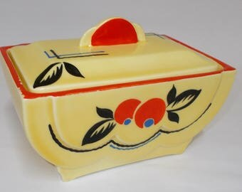 Ceramic Art Deco Biscuit Box. Hand Painted by Ditmar Urbach Czecheslovakia.