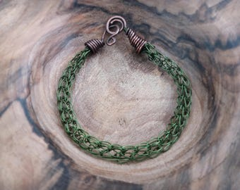 Viking knit bracelet handmade in copper color khaki. Viking historical Celtic, boho, medieval, tribal inspiration