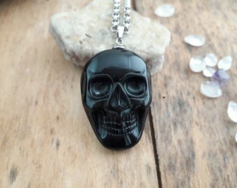 """Necklace / pendant""Halloween""skull"" sugar skull black Obsidian. Gothic, wiccan, cosplay"