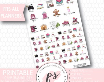 Christmas Holiday To Do & Bucket List Icons Printable Planner Stickers | JPG/PDF/Silhouette Compatible Cut
