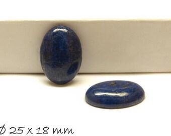 1 PCs cabochon, lapis lazuli, Ø 25 x 18 mm