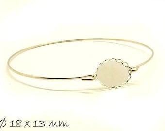 3 Bracelet Blanks Cabochon version 18 x 13 mm Silver