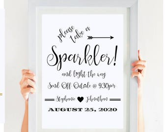 Wedding Sparkler Sign Printable  Let Love Sparkle Sparkler Send Off Sign Wedding Reception Decor Wedding Sign CWS307_29C