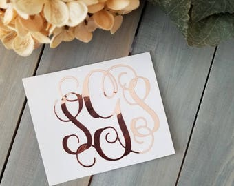 Rose Gold Chrome Vine Monogram Vinyl Decal, Rose Gold Monogram Initials, Yeti decal, Mug decal