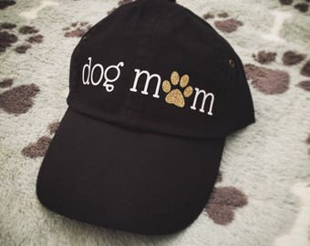 Dog Mom Baseball Cap - Black Cap with White and Gold Glitter, Fur Mama, Fur Mom, Dog Lover, Dog Mama, Dog, Puppy