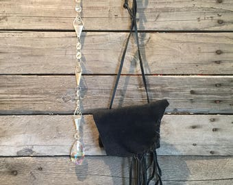 Light weight black leather and bead medicine bag with suncatcher