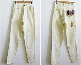 90s mom jeans W28 cigarette leg pants Pontiac high waisted pants off white deadstock jeans new with tags attached vintage 1990s size S