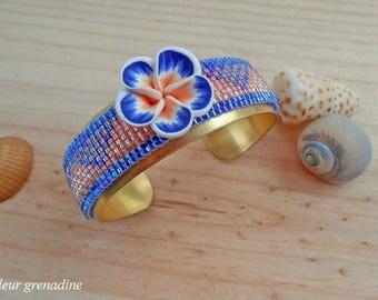 Geometric woven Bangle Cuff Bracelet miyuki beads, gift idea celebrates the big day, Easter