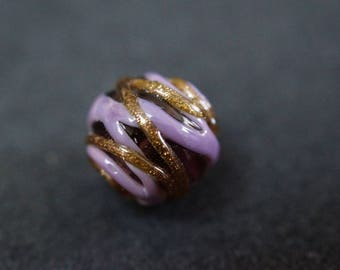 VEerre gold purple and Black Pearl round 14 mm