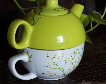 Teapot Cup individual two-in-one - hand painted and customizable