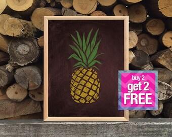 pineapple, Printable Art, digital art,  Modern Wall Art, Wall Decor, Digital Download, chalkboard art, pineapple chalk
