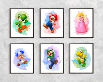 Super Mario Print, Super Mario Bros Printable, Mario Watercolor, Video Game Art, Mario Decor, Super Mario Birthday Party, Digital download