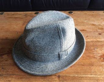 Men's, Vintage, Marks & Spencer, St. Michael, Grey Herringbone Tweed, Wool Hat, Size 7 1/4 or 59cm
